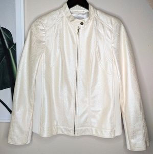 Chico's White Patent Leather Snakeskin Moto Jacket